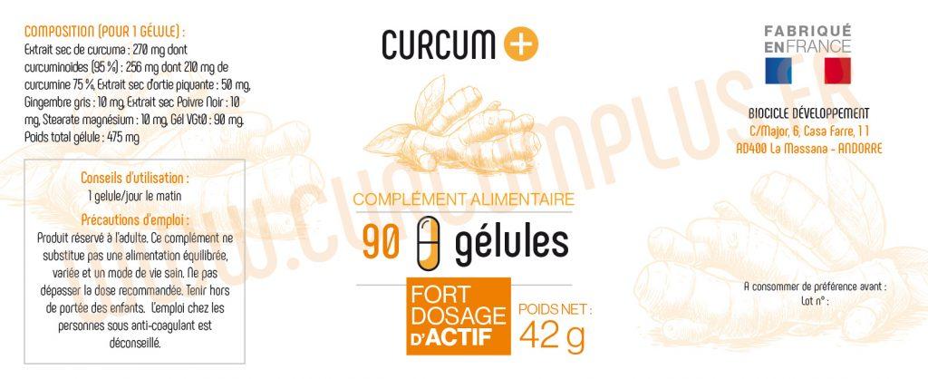 90 GELULES CURCUM PLUS composition