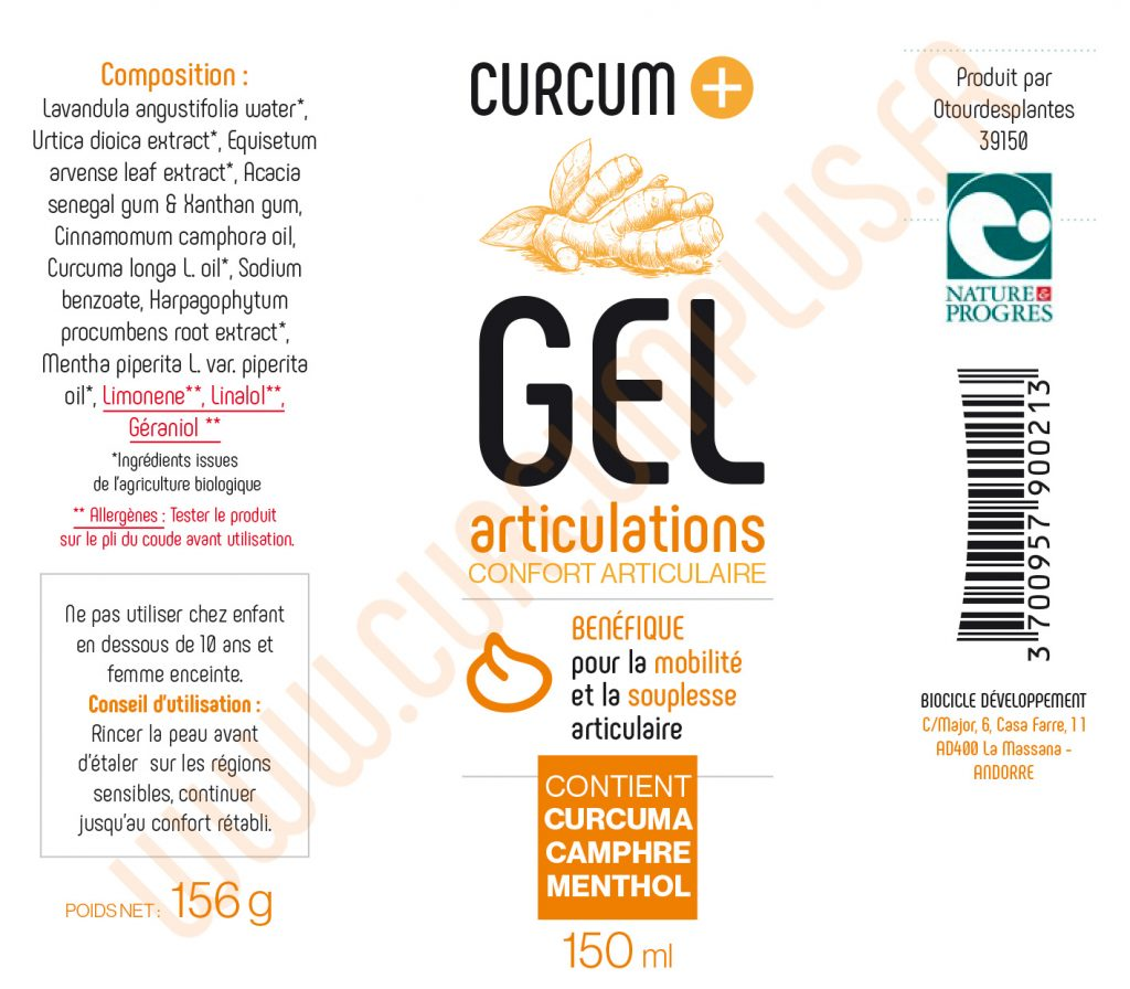 GEL ARTICULATIONS CURCUM PLUS composition
