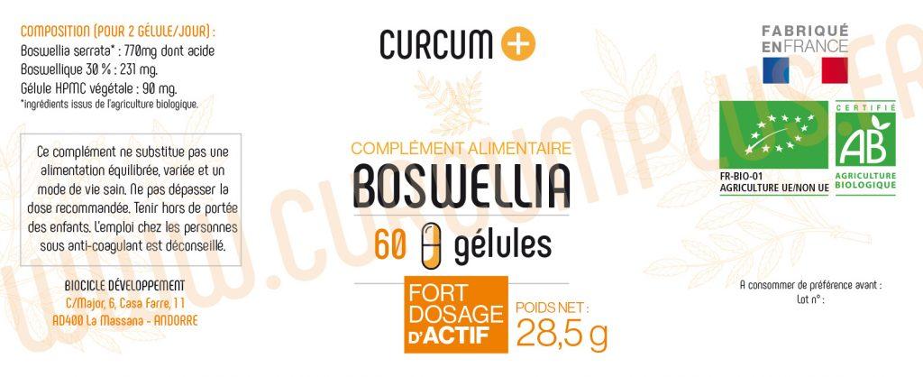 60 GELULES BOSWELLIA CURCUM+ composition